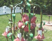 RESERVED FOR P- Vintage Italian Tole Chandelier- Pink Tulips-Unique