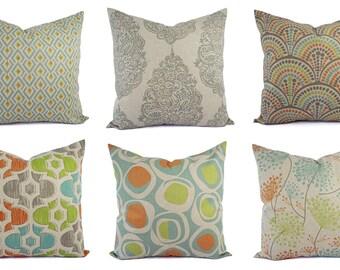 Decorative Pillow Orange Blue and Beige - Throw Pillow - Green Blue Taupe Pillow - Accent Pillow Covers - Orange Pillows - Green Pillow