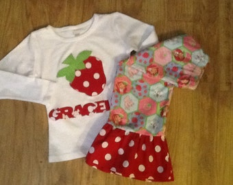 Strawberry shortcake outfit toddler girl birthday Ruffle Pants Top Personalized 6M to 8Y