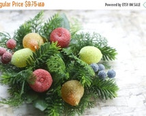ON SALE Candle Ring Wreath Vintage Sugared Fruit Plastic Retro Christmas floral wreath
