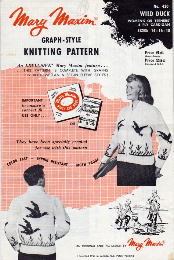 Graph Style Knitting Pattern : Mary Maxim 430 Wild Duck Graph Style Knitting Pattern Teens