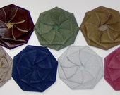 Flower Coin Purses Pinwheels Leather , Hand Crafted leather Hand-cut and Molded