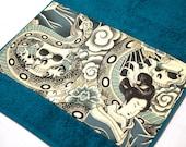Petrol / Turquoise Japanese Print Skull & Snake Bath Towel 38 cm x 70 cm