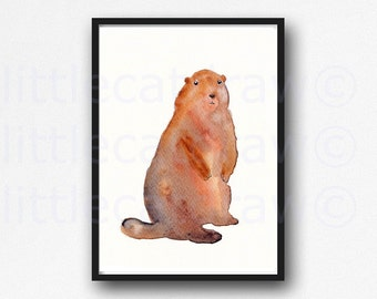 Woodchuck Groundhog Watercolor Painting Print Watercolor Painting Print Watercolour Wall Art Animal Watercolor