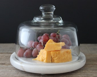 Marble Board & Glass Dome Cover Platter Cheese Server Covered Cheese Plate -VINTAGE-