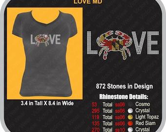 Love Maryland Crabs Rhinestone Shirts/Hoodies/Tanks