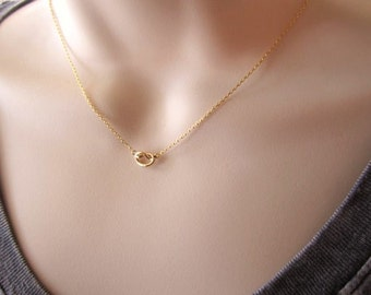 Tiny gold knot necklace...Tie the Knot bridal jewelry, simple every minimalist handmade jewelry, wedding, bridesmaid gift, friendship
