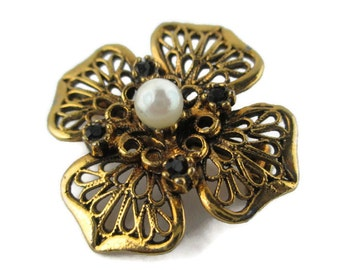 Vintage Openwork Filigree Rhinestone Faux Pearl Flower scatter Pin Brooch