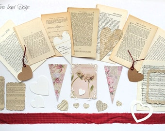 Love Themed Mini Kit Valentine's Scrapbook Journalling Inspiration Kit - 60 Vintage French Book Pages, Scrapbooking , Collage, Altered Art