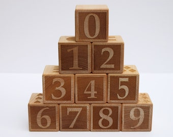 Laser Engraved Wooden Number Block Set