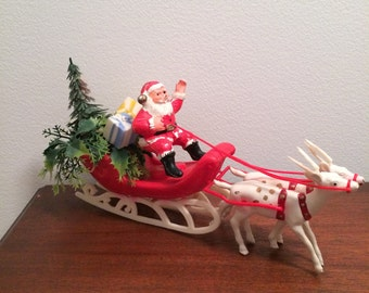 Vintage Christmas Santa in Sleigh with Reindeer Tree  Presents Plastic Mold Blow Mold Decoration