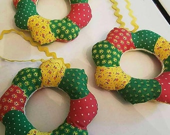Vintage Christmas Wreath Ornaments  - Set of 3