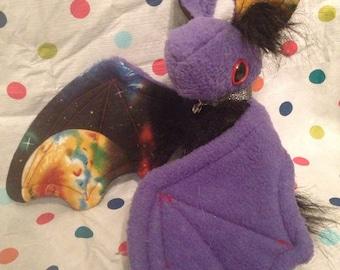 Lavender Purple Galaxy Bat Plushie Stuffed Animal Toy Plush