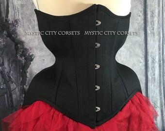 MCC-17  Black cotton underbust waist training tightlacing steel boned corset  MystiC City Corsets