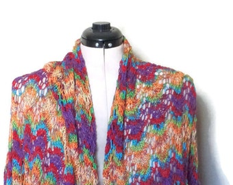 Wool Blend Multicolored Lace Wrap/Shawl/Gift/Fingerweight
