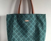 Reversible Tote with leather handles