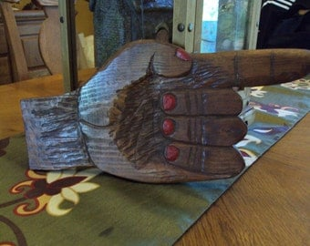 Folkart Wooden Hand with Pointing Finger