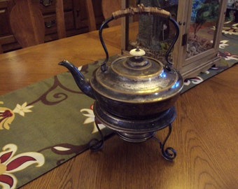 Vintage Silver-Plated Teapot With Stand and Burner