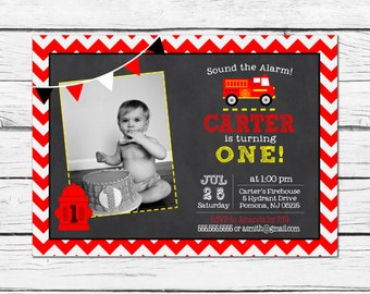 Fireman Birthday Invitation / Firetruck Birthday Invitation / Firefighter Birthday Invitation / Chalkboard Invitation /