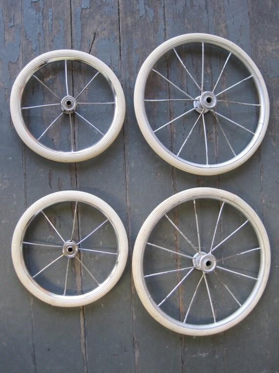 4 Vintage Baby Buggy Wheels Metal Rim White Rubber Garden