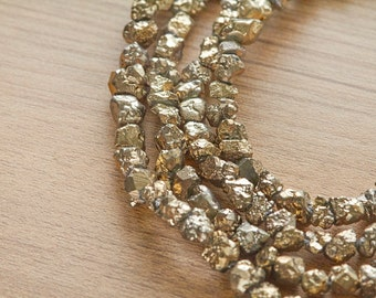 10 pcs of Gold Plated pyrite Rough Nuggets Beads