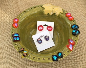 Earring bowl with maple leaves! Jewelry storage. Fun display!