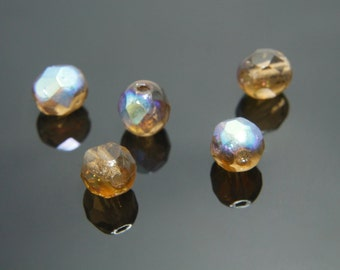 Fire-polished round faceted, FP06-09, 100 pcs, 6mm, Smoke topaz AB, Czech glass beads, Jewelry component, Jewelry beads, 10220/AB