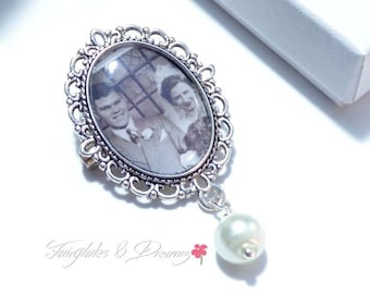 Memorial Photo Brooch, Wedding Brooch, Photo Jewellery, Memorial Jewellery, Wedding Keepsake, Photo Pin, UK, 18x25mm Photo
