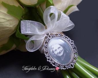 Ribbon BOW -  Bridal Bouquet Photo Charm, NOT DIY, Memorial Charm, Wedding Charms, Silver or Antique Bronze Charm - 25x18 Photo