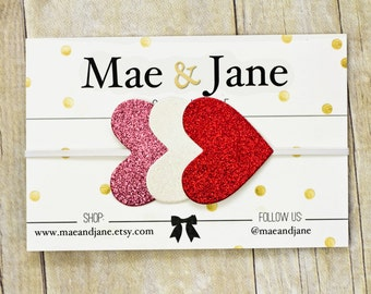 "Glitter Hearts Headband. Red, White and Pink Glitter Hearts on 1/8"" White Elastic. Hair accessory, photo prop, newborn"