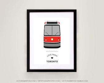 Love from Toronto - 8x10, 11x17 typography print, streetcar, subway, toronto transit, modern wall decor, map, travel, sign art, custom