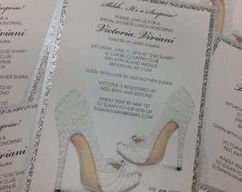 BRIDAL SHOWER INVITATION Shoe Invitation Birthday Invitation Bridal Shower Shoe Invitation Shoe Theme Invitation Sweet 16 Invitation