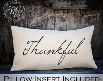 Thankful Burlap Pillow, Thanksgiving Pillow, Fall Pillow, Thanksgiving Home Decor