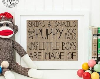 Baby boy, baby boy gift, Snips Snails, Boys Nursery Decor, Children's Wall Art, Baby boy Nursery decor, nursery wall art, snips snails sign