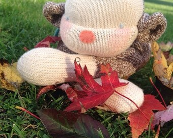 SOLD!!!  Cheeky Britches Sock Monkey Plush, monkey plush, stuffed animals, handmade toys, monkey toy, nursery decor, handmade doll