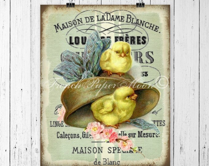 Vintage French Digital Chicks, Easter Hat, French Graphic Easter Pillow Image Digital Transfer Graphic, Iron On, French Pillow Easter