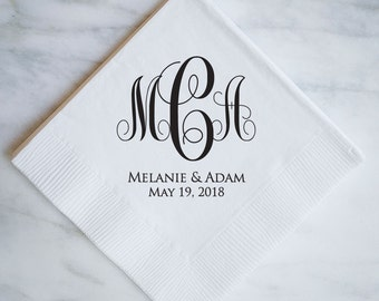 custom personalized napkins. custom monogram napkins with names and dates personalized wedding printed cocktail