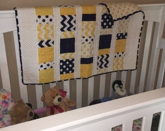 Baby Boy Quilt in yellow, navy and white