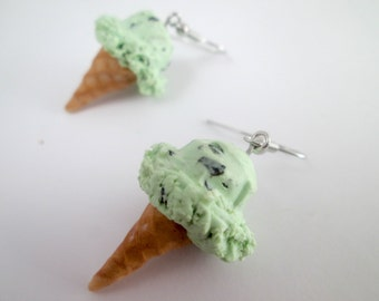 Mint Chocolate Chip Ice Cream Cone Earrings Polymer Clay Summer Earrings Faux Food  Miniature Food Mint Chip Ice Cream Cone Earrings