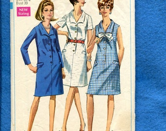 1960's Simplicity 7449 Retro Shirt Dresses  with Lay Down Collars Size 16.5