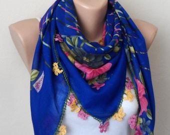 royal blue scarf floral print scarf cotton turkish scarf oya scarf handmade scarf women accessories fashion scarf gift for her