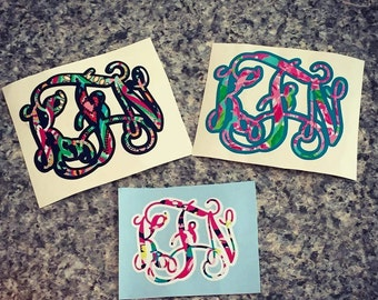 Monogram Decals - Lilly Pulitzer, Chevron, double, or single