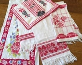 Instant Collection Red White Linens, Vintage Printed & Woven Towels,  Cottage Farmhouse Kitchen