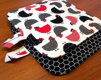 Chickens Pot Holders: triple layer modern country kitchen potholders, hen hot pads, black and red farm house decor, hostess gift