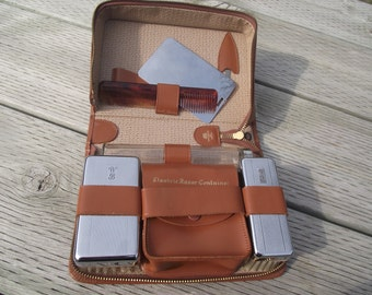 VINTAGE MEN'S TRAVEL Kit,Preppy Travel Case,Leather Travel Case,Father's Day Gift,Luggage and Travel, Preppy Gift for Men,Graduation Gift