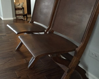 Pair of Solid Wood Folding Movie Chairs