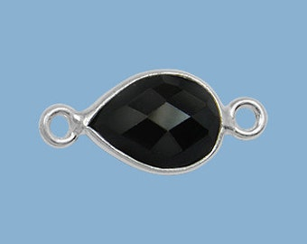 10 ea. Small 10x7mm Black Onyx and Solid Sterling Silver Pear Bezel Connector Link Birthstone