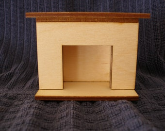 Miniature doll house fireplace plain  dollhouse furniture