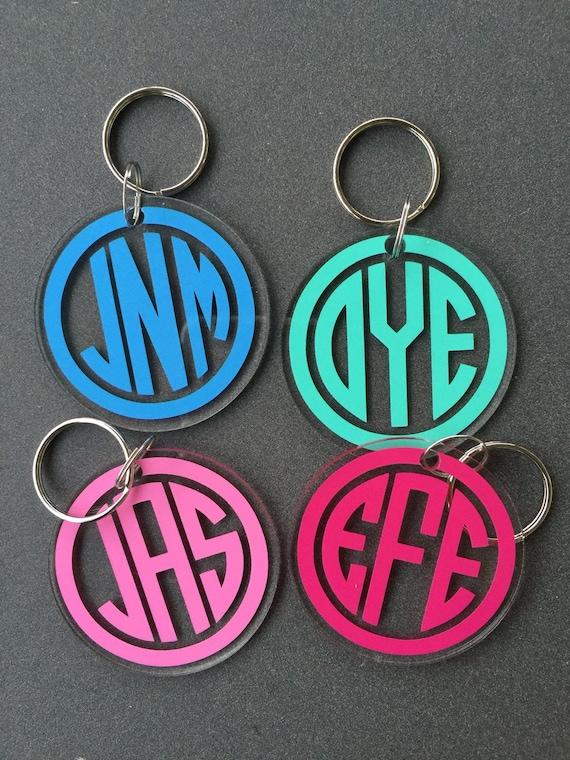 Circle monogram keychain acrylic