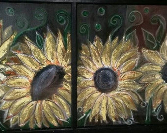 Sunflowers on Window Screen